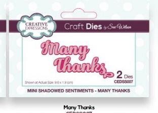 Mini Shadowed Sentiments Collection - Many Thanks